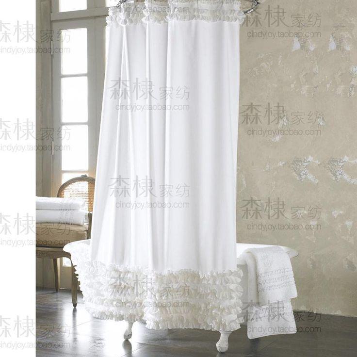 2013 мода свежие белые занавески для душа   ручной Terylene утолщение водонепроницаемый металлической проволоки, принадлежащий категории Занавески для душа и относящийся к Дом и сад на сайте AliExpress.com | Alibaba Group