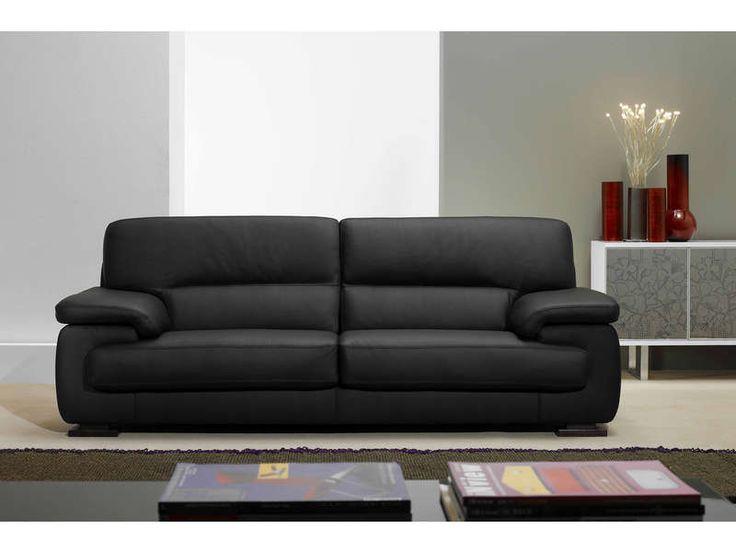 Canapé fixe 3 places BALSAMO coloris noir prix promo Canapé cuir Conforama 1 158.40 € TTC au lieu de 1 651 €