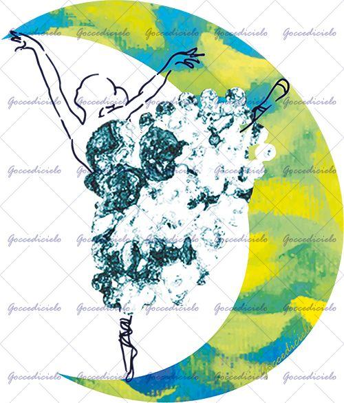 Ballerina vestita di nuvole ritratta mentre danza sulle punte a disegnare una luna colorata di azzurro e giallo oro. Realizzata con tecnica mista olio su tela, disegno a china e montaggio fotografico