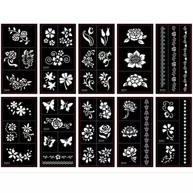 50 قطع وشم استنسل ل إصبع اليد اللوحة موقع قران الهندي المؤقتة بريق البخاخة الحناء وشم استنسل قوالب بالجم Tattoo Stencils Henna Tattoo Stencils Henna Stencils