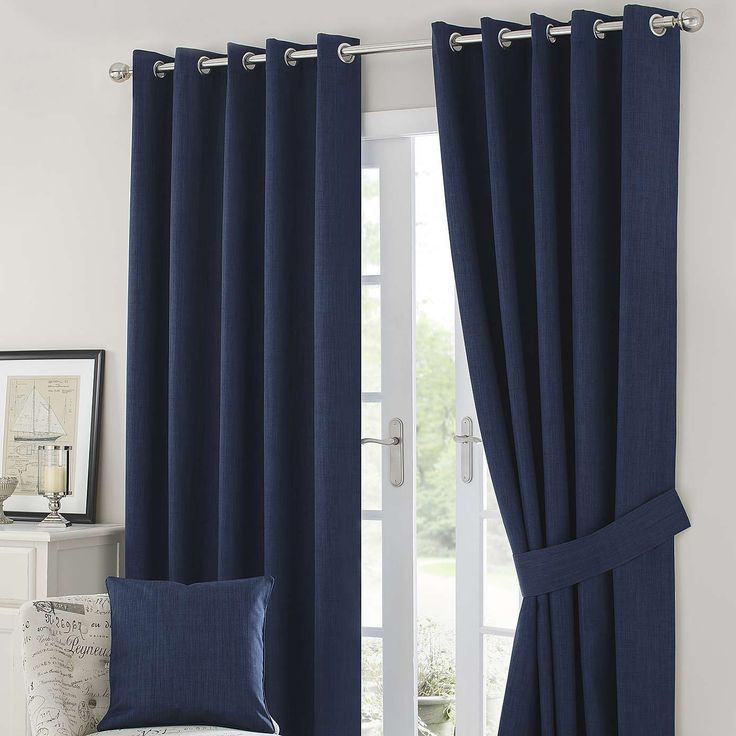 Navy Solar Blackout Eyelet Curtains | Dunelm