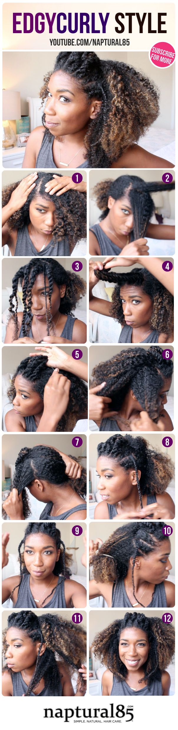 An Edgy Curly Wash and Go Hairstyle perfect for any occasion! This hairstyle looks great on...