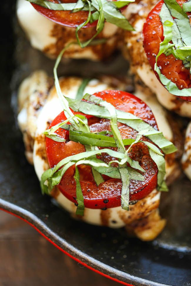 Baked Caprese Chicken – Amazingly crisp-tender chicken baked with melted mozzarella and topped with juicy tomatoes, fresh basil