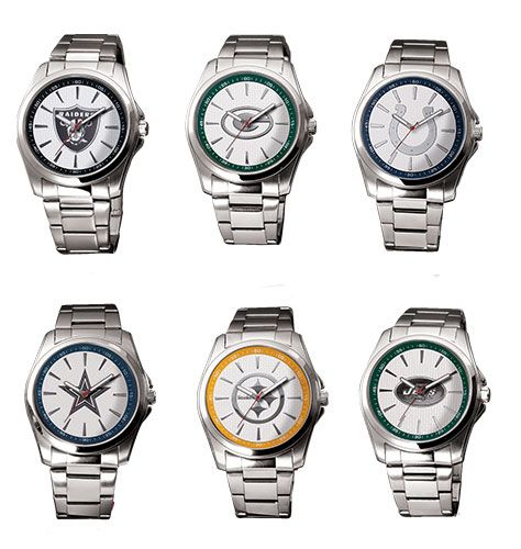 Score a touchdown with your favorite football fan. Silvertone quartz movement timepiece features the team logo on dial and NFL logo printed inside the handsome gift box. Silvertone band