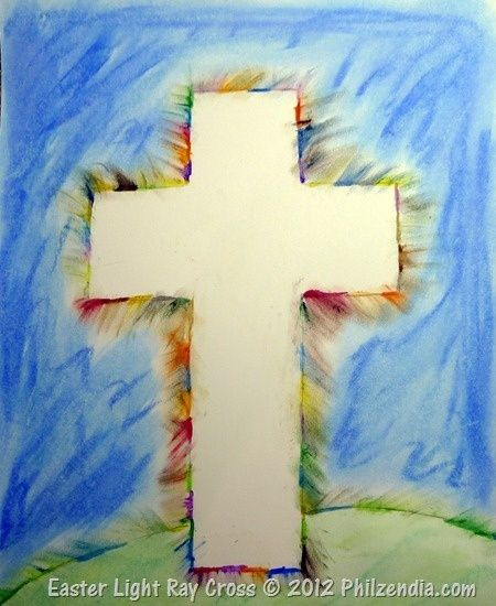 Easter Craft for my preschool kids going to tape a cross shape to white paper let the kids wet chalk or watercolor all over it, and then take the cross off voila