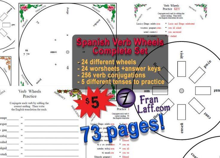 Spanish Verb Wheels Complete Set Spanish verbs, Verb