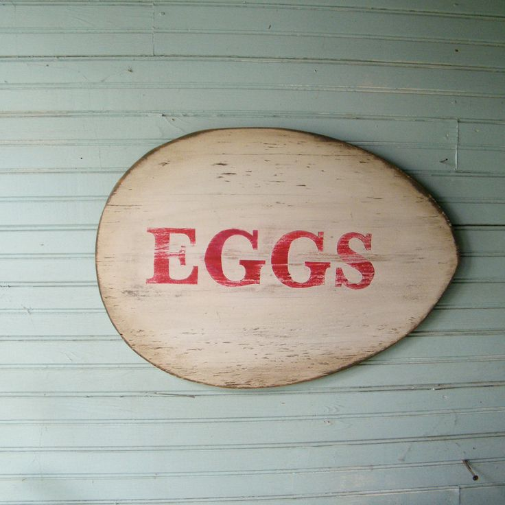 Egg Sign Roadside Chicken Egg Farm Stand Kitchen Wall Art. $52.00, via Etsy.