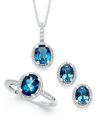 Sterling Silver Jewelry Set, London Blue Topaz and White Topaz Earrings, Pendant and Ring Set