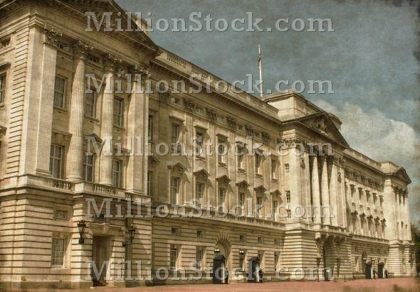 Vintage image of Buckingham Palace in London, UK