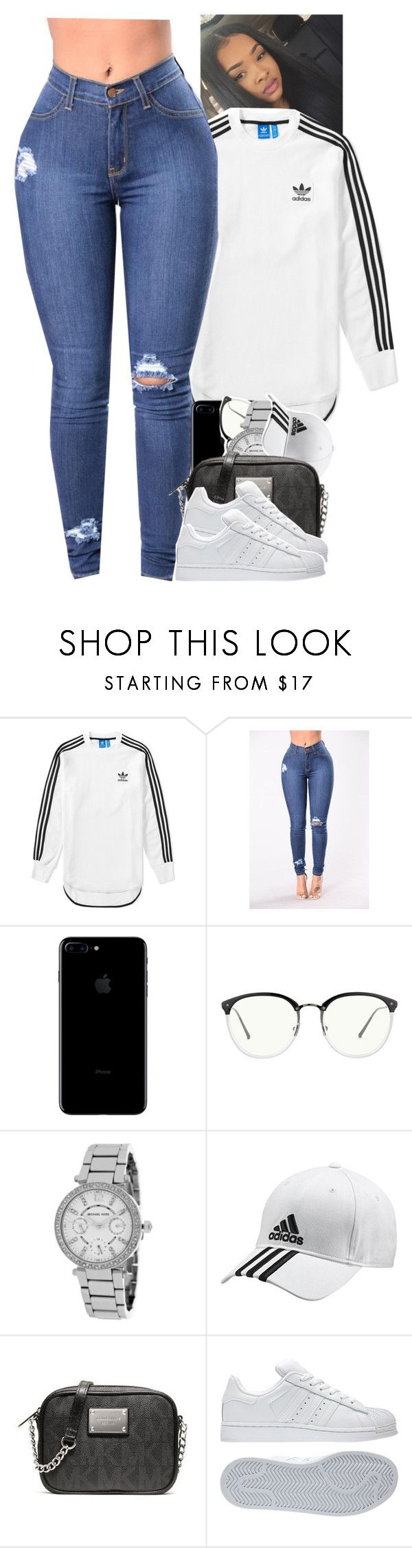 """Untitled #1889"" by toniiiiiiiiiiiiiii ❤ liked on Polyvore featuring adidas, Linda Farrow and Michael Kors"