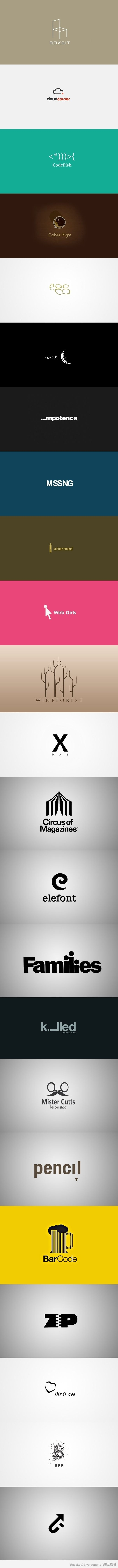 Logo. These logos very cleverly incorporate the title of the company into the logo itself.