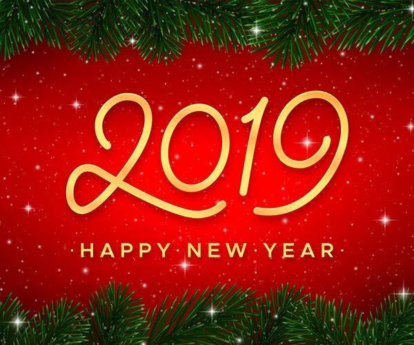 happy new year card gold calligraphy number 2019 and border with christmas tree branches on