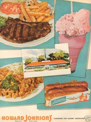 1960s vintage HOWARD JOHNSON Restaurant ICE CREAM Milkshake HOT DOG Motel AD