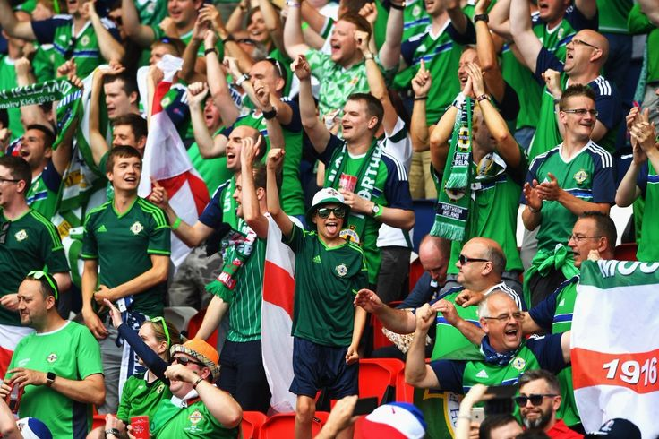 "Northern Ireland fans sing ""We voted to remain"" to Welsh fans at Euro 2016."
