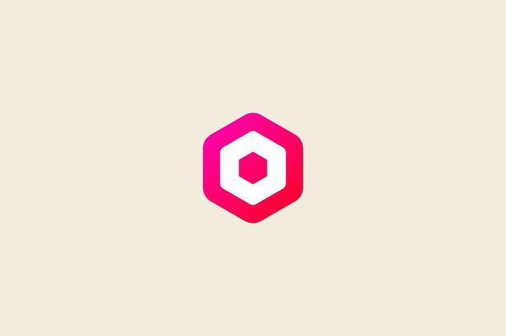 Abstract letter O hexagon logo by Bureau on @creativemarket