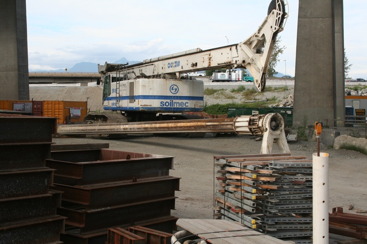 An SR-90 #Soilmec soil compacting machine folded up for transport to another location on the PMH1 project.