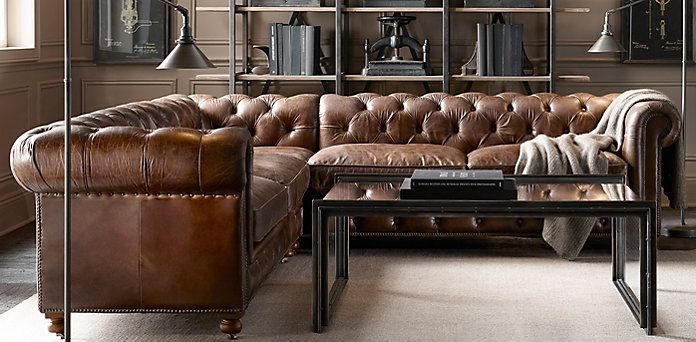 Adrianne..here is the Kensington from Restoration it combines the tufted detail with the brown leather sectional