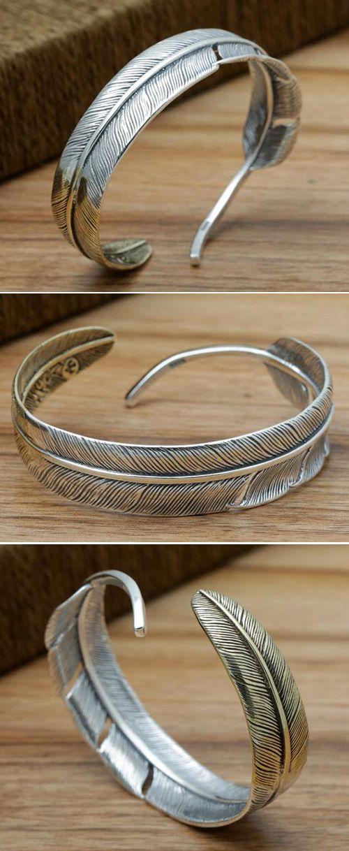 Men's Sterling Silver Two-Tone Feather Cuff Bracelet