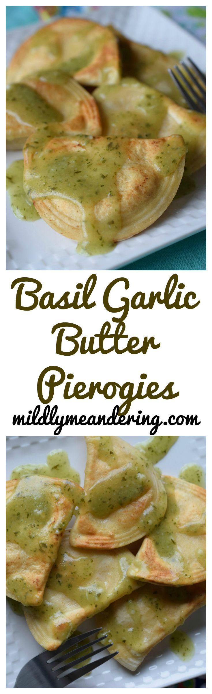 Basil Garlic Butter Pierogies - Mildly Meandering