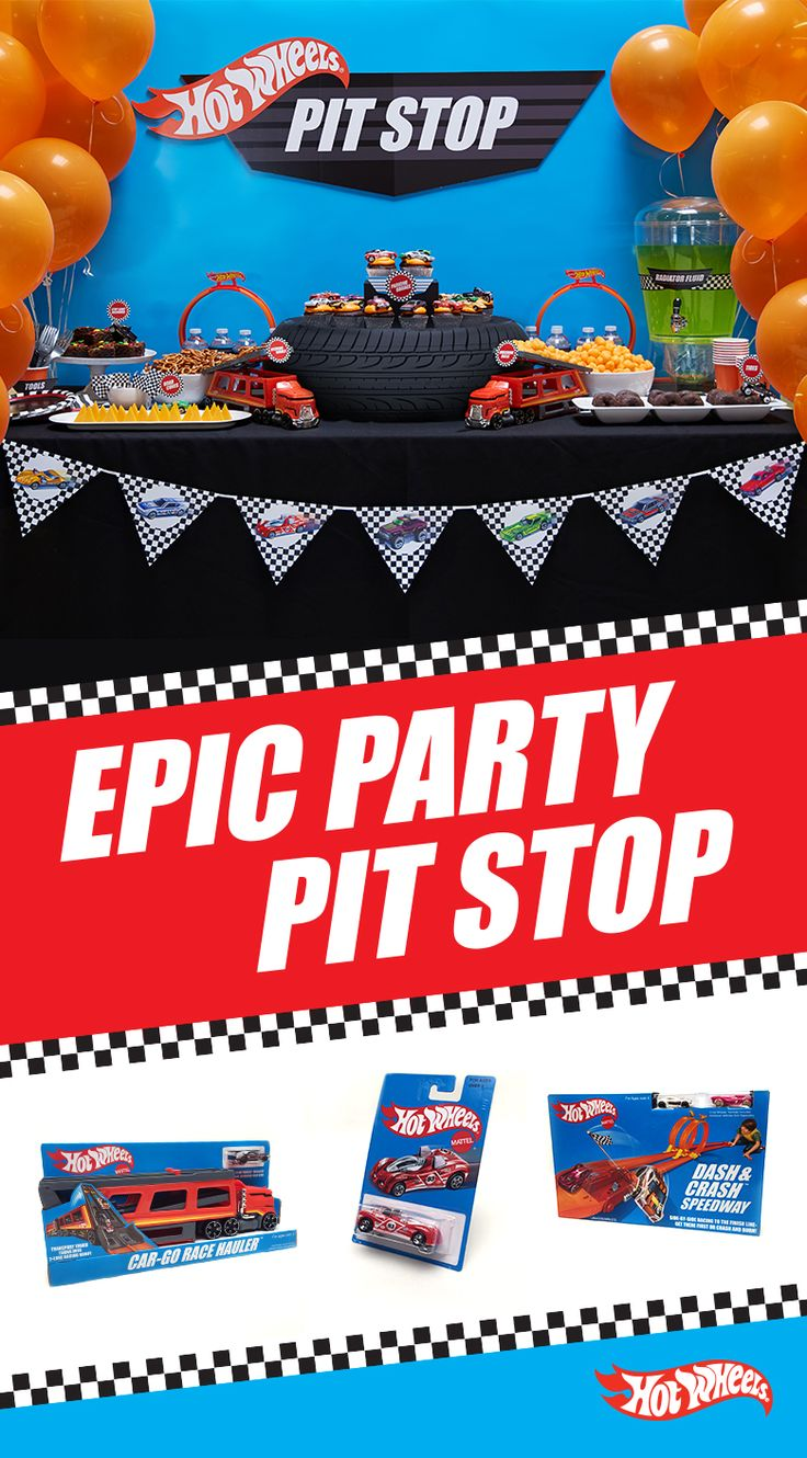 Every Hot Wheels house party needs a first-place snack table. Get your party supplies and retro Hot Wheels line at Target to make this DIY table and decorations for your next Hot Wheels themed celebration.