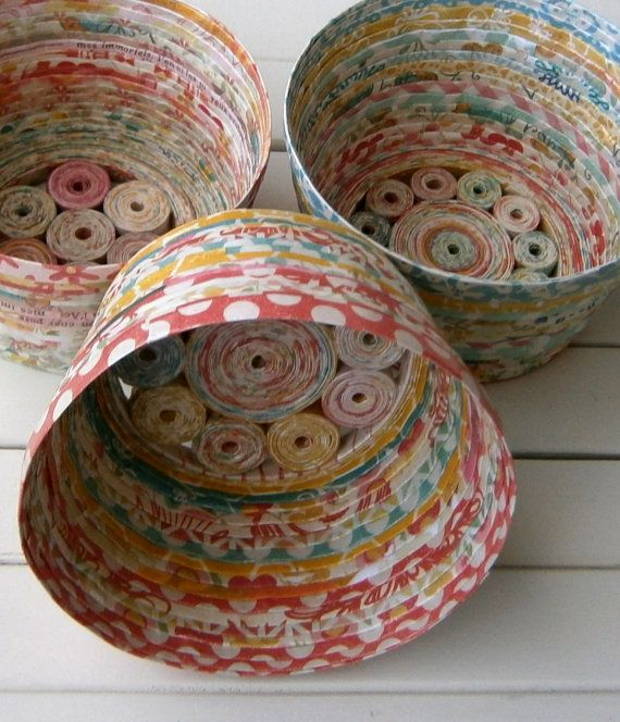 "These unique baskets/bowls are sure to add a bright and cheerful vibe to your home or office. Fill with sachets, potpourri; or maybe an LED tea light; or simply add a few bits of tissue or paper shreds for a truly unique gift presentation.  Approximate size: 4"" diameter x 2 ½"" tall. Packaged in a cotton / muslin drawstring bag.  The baskets are made from recycled and leftover scraps of paper from a variety of sources, giving them a unique combination of colors, hues, and textures. Strips of…"