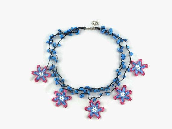Crochet Necklace Crochet Star Necklace Layered by Nakkashe on Etsy