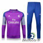 Le Survetement de foot Real Madrid Pourpre + Pantalon Bleu 2016 2017