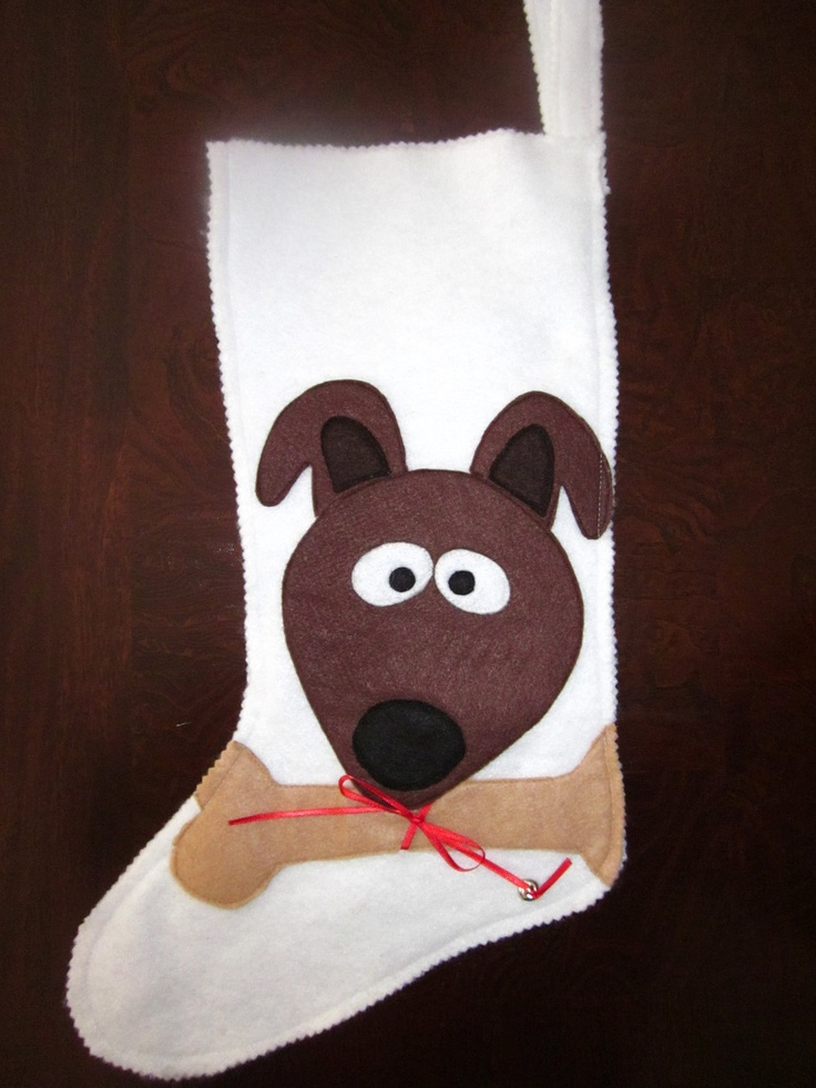 Doggie Felt Christmas Stocking by sugarbeansgirl on Etsy, $22.00