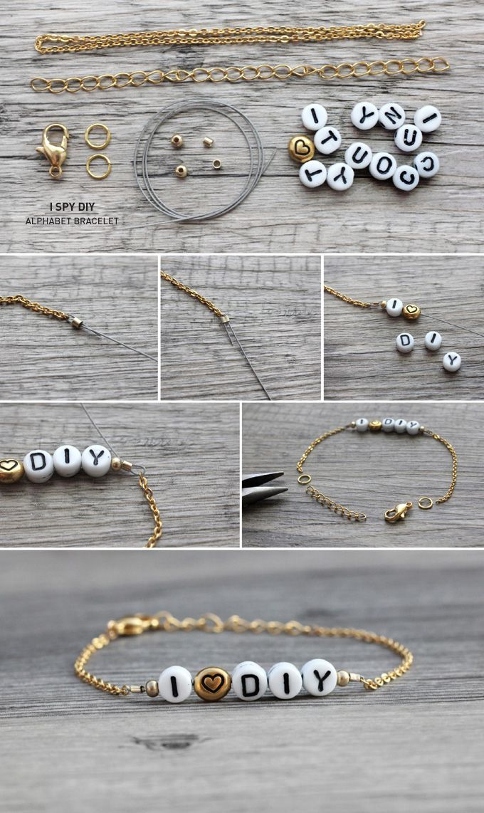 Easy Jewelry Crafts: Alphabet Bracelet. How cool to wear a bracelet accented with your name, your favorite saying! You can also exchange the alphabets and used it as a great gift for your beloved ones.