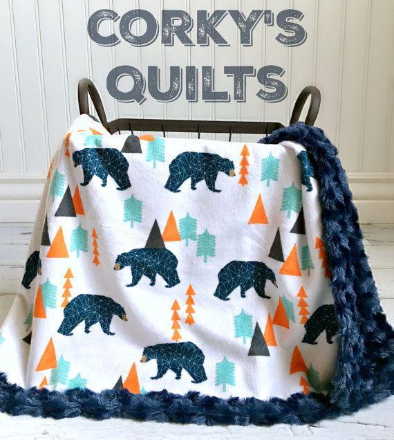 Bear Baby Blanket  Woodland Navy/Orange Bear by TheDesignerMinkyCo