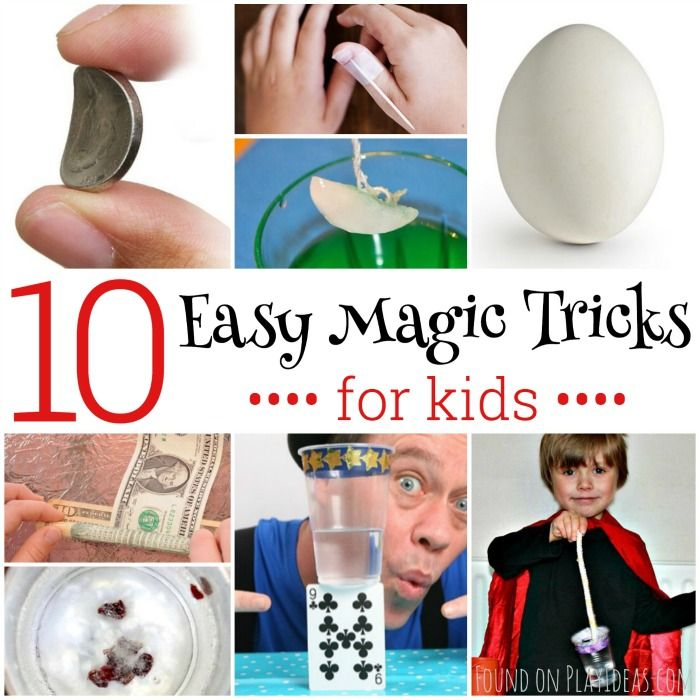 Your kids will love these easy magic tricks! With a little practice, your kid will be a mini Houdini in no time with these easy magic tricks for kids. 10 Easy Magic Tricks for Kids I never knew string and ice could have such magical powers! via Kids Activities Blog  Turn $1 into $10 with this neat trick. via Kids Activities Blog  Whoa, you can totally bend a coin for a super cool magic trick. viaStaying Close to Home  This anti-gravity magic trick will amazeeveryone. viaMagic Tricks…