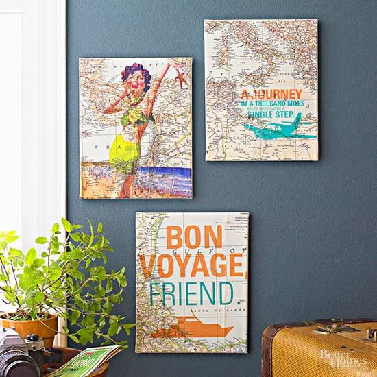 Give in to wanderlust, and treat your home to some travel TLC with retro-inspired map art. To create this easy do-it-yourself decor, cut a map to standard printer paper size -- 8½×11 inches -- then print with vacation-inspired sentiments and scenes. Affix the map to an art canvas with spray adhesive then with a coat of decoupage./