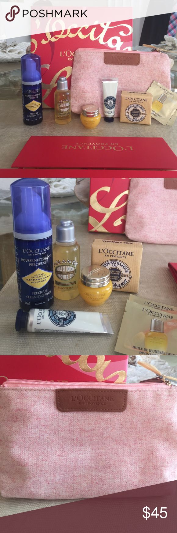 NWT L'OCCITANE gift set Brand new set includes 1.7 oz precious cleansing foam (my absolute favorite face wash I will only use this for the rest of my life) 💫1.1 oz Amande Shower Oil 💫travel size Divine Cream (one of the best in the world full size is over $100) 💫1.7 oz Shea milk soap .💫Travel size Shea butter intense hand cream 💫2 samples of Divine Youth oil and 💫gift wrapping set!💫 pretty pink travel bag Loccitane Makeup Brushes & Tools