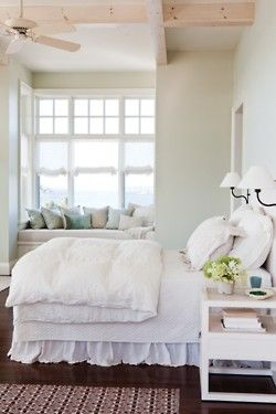 white seaside bedroom: Decor, Idea, Beaches House, Cottages Bedrooms, White Beds, Windowseat, White Bedrooms, Guest Rooms, Window Seats