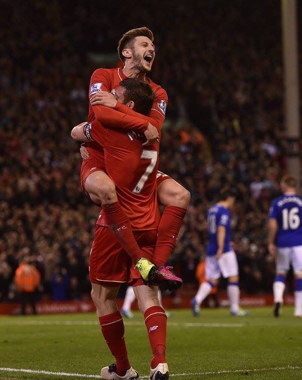 Adam Lallana celebrating a goal at the Merseyside derby.