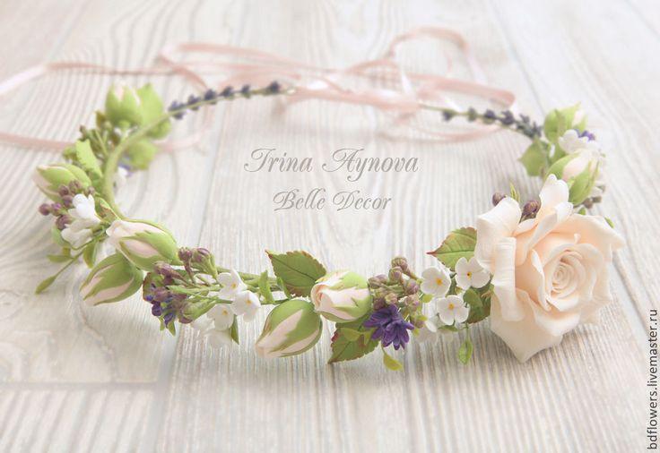Купить Венок на голову с цветами из полимерной глины - кремовый, свадебное украшение, на свадьбу