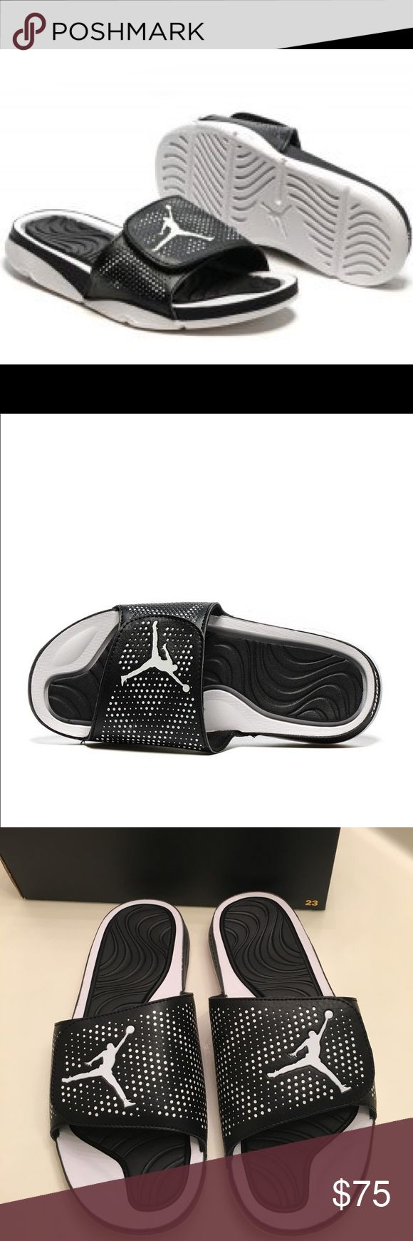 Nike Jordan Hydro 5 Sandal Slides Slippers Synthetic Rubber sole With an adjustable fit and a massaging footbed, the slide is the perfect way to unwind and recuperate after a hard-fought battle Signature Jordan details add a sleek look to these post-game essentials TPR footbed designed to massage the feet in key performance areas, improving recovery Lightweight foam Phylon for added cushion and support Jordan Shoes Sandals & Flip-Flops