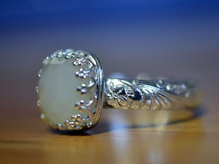 White Moonstone Engagement Ring with Personalised Floral Patterned Band