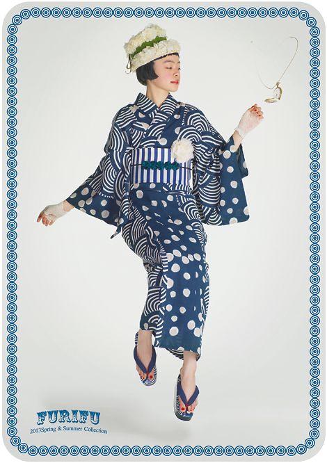 Traditional motifs get a modern treatment. コレクション|きもの * ふりふ