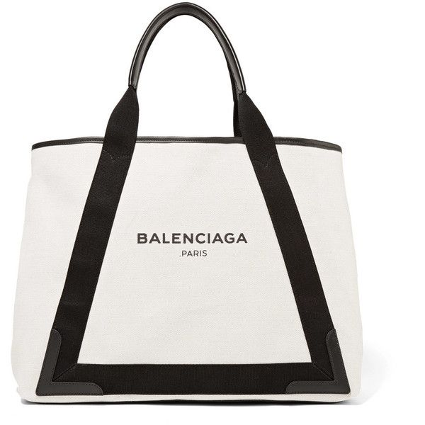 Balenciaga Cabas leather-trimmed canvas tote ($1,090) ❤ liked on Polyvore featuring bags, handbags, tote bags, black, canvas handbags, tote purses, handbags tote bags, balenciaga tote bag and snap closure purse