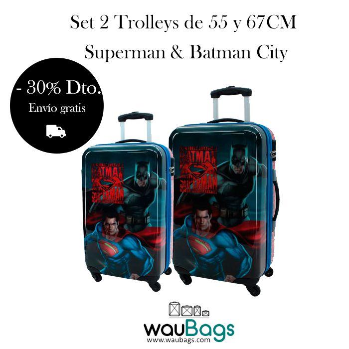Consigue el Set de viaje compuesto por 2 originales y prácticas Maletas Trolley Superman & Batman City (una de ellas tamaño cabina) por tan solo 147€ con gastos de envío gratis!!!  @waubags #superman #batman #maletas #viaje #descuento #oferta