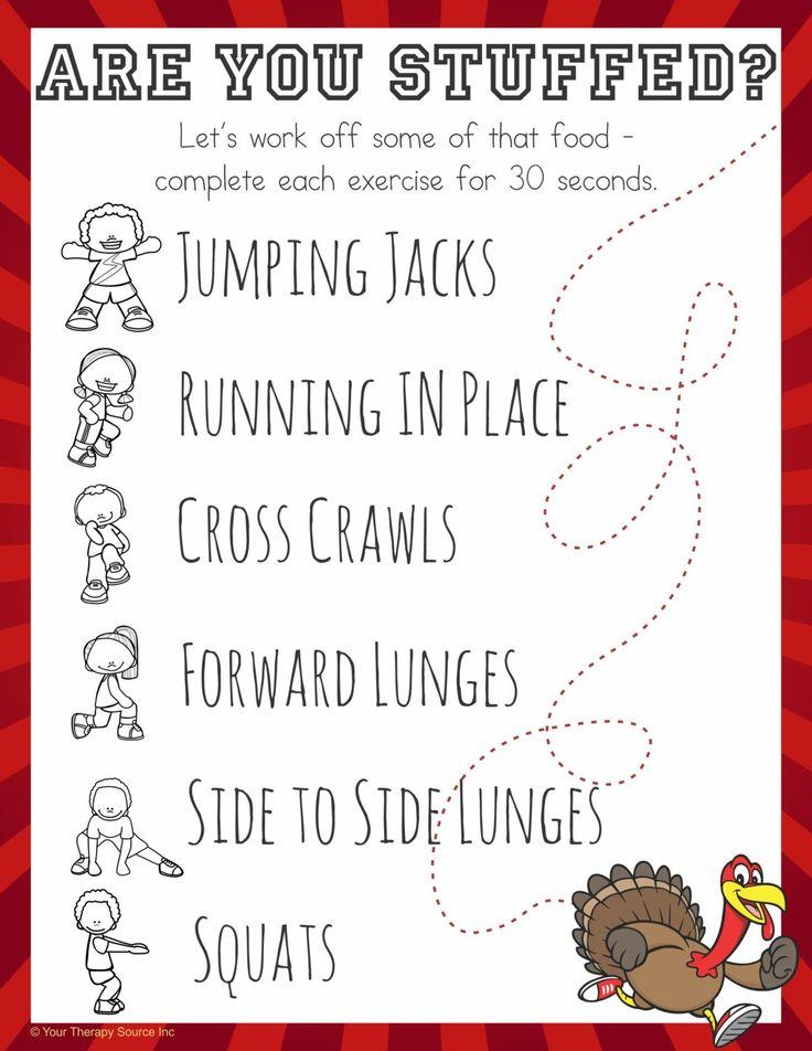 Thanksgiving Mini Workout freebie - Are You Stuffed?