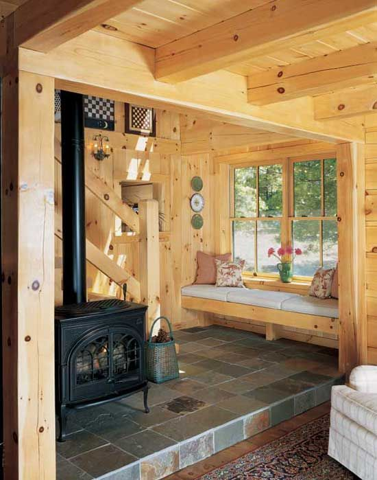 Wood stove + built-in bench - for three seasons room?