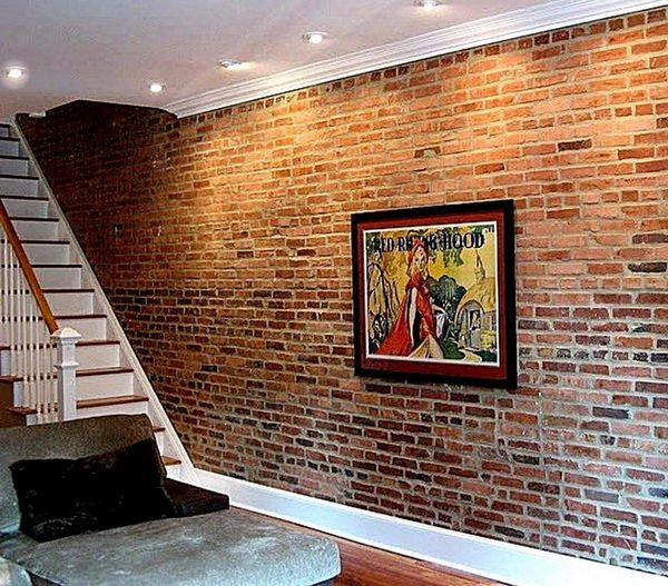 Brick Basement Wall. If basement walls are originally brick instead of poured concrete, leave them as is for a chic loft like look. Concrete walls could be covered with faux brick treatment.