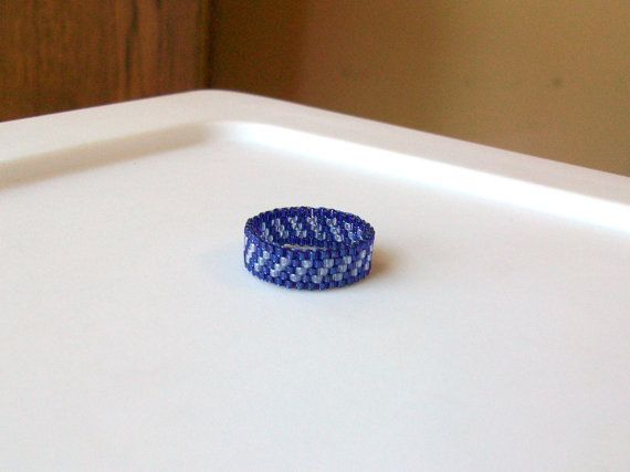 Blue Topaz and Sapphire Blue Beaded Band Ring  Size by mswolflady, $12.00