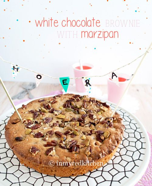 White chocolate brownies with marzipan | in my Red Kitchen