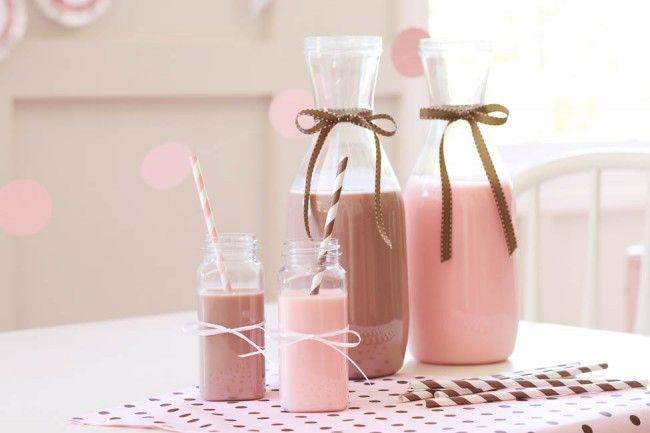 Homemade Chocolate + Strawberry Milk :: Baking Birthday Party styled by The TomKat Studio for Pottery Barn Kids http://www.thetomkatstudio.com/bakingpartyforpotterybarnkids/
