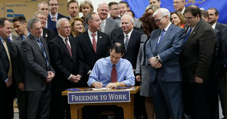 The so-called right-to-work law prevents organized labor from forcing all workers to pay union dues, making Wisconsin the 25th state to adopt such a policy.