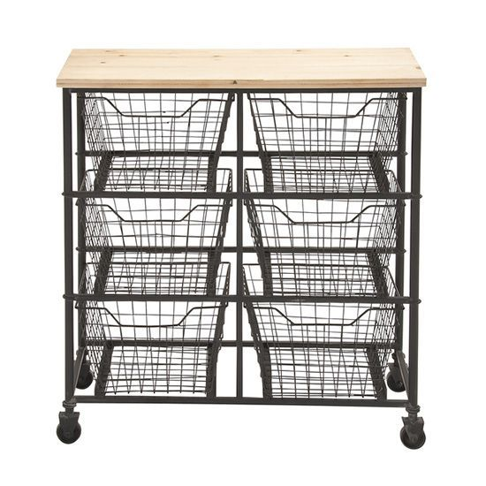 This trendy wire rolling cart features six bins that can hold anything from crafts supplies to produce to clothes.