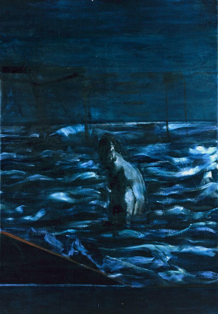 Francis Bacon, Figure in Sea, circa 1957. Oil on canvas. © The Estate of Francis…